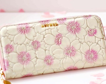 Aether Cherry Blossom Zip Arround Leather Wallet