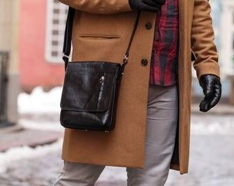 Men's Leather Bag,Leather Messenger Bag.Men's Cross body Leather bag.Gift for him.Black/Blue Leather Bag. Leather Shoulder Bag.Handbag (54)