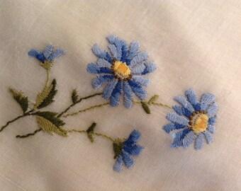 Vintage  Handkerchief  / Blue Daisies