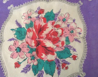 Vintage Scarf / Purple and Red Rose