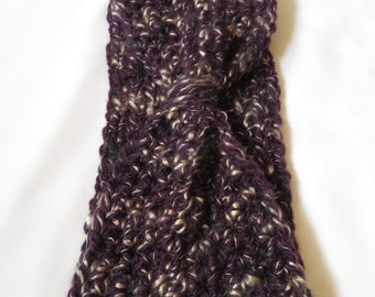Eggplant*Crocheted*Reversible*Headband