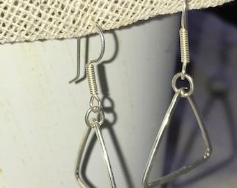 Earrings triangle of silver