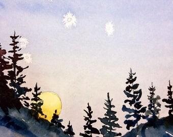 Winter Evening (Original Watercolor Painting)