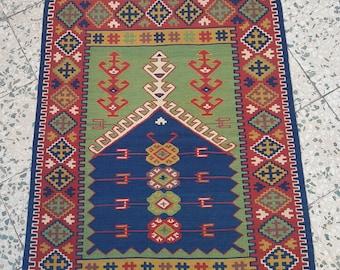 "Vintage Anatolian Turkish Kilim Rug : 3'3"" x 4'1"" // 99 x 124cm,Erzurum Kilim Rug,Vegetable Paint Kilim Rug,Handwoven Kilim Rug,Rugs, Kilim"