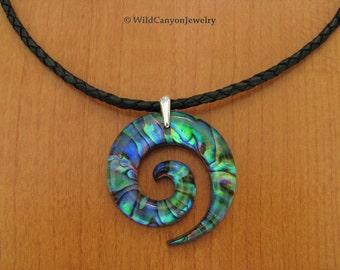 Paua Shell Koru Spiral Necklace