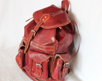 Handmade Bespoke Leather Backpack, Leather Bag Maroon