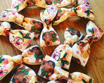 Moana printed ribbon hair bow clips- double and single!