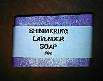 Lavender soap, shimmering lavender soap, relaxing soap, homemade soap, handmade soap, aromatherapy soap, purple soap, handcrafted soap, 5oz