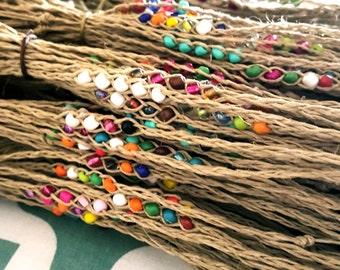 NEW! Handmade! Lot of 10 Wish beaded hemp friendship bracelets