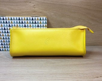 Purse drop yellow calf leather