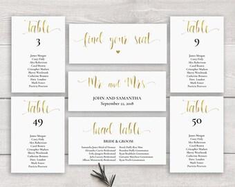 Gold Seating Chart Template, Printable Wedding Seating Chart Download, Seating Plan, Wedding Seating Chart Gold Table Plan Faux Gold Foil