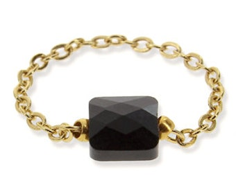 Ch stone square black crystal ring