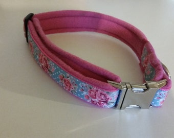 Extra cute fleece and webbing dog collar with metal buckle