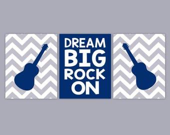 Music Bedroom Art - Rock On - Guitar Wall Art - Chevron Wall Art