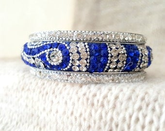 Silver white blue Bracelet set Traditional Indian Bangles Bridal Jewelry wedding jewelry Stackable Bracelets BOHO Bijoux Regalo GIFT for HER
