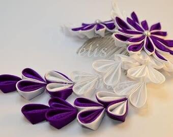 Kanzashi hair comb, satin flower, hair comb, fabric flower, kanzashi, beads