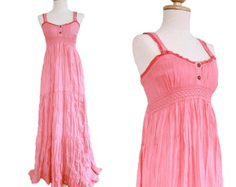 Women Long Cotton Lace Strap Smocked Maxi Dress Sundress in Pink - Beach Wedding Dress - LD007
