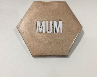 Handmade rose gold concrete coaster 'MUM'