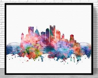 Pittsburgh Skyline, Pittsburgh Print, Pittsburgh Pennsylvania, Office Decor, City Skyline Prints, Office Poster, Cityscape Art, ArtPrintZone