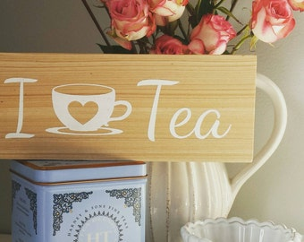 I {heart} Tea Cypress Wood Sign 8 x 2.5