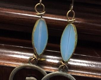 Vintage stone & brass fish hook earrings blue stones brass birds
