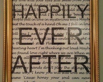 Personalised song lyrics picture frame Happily Ever After