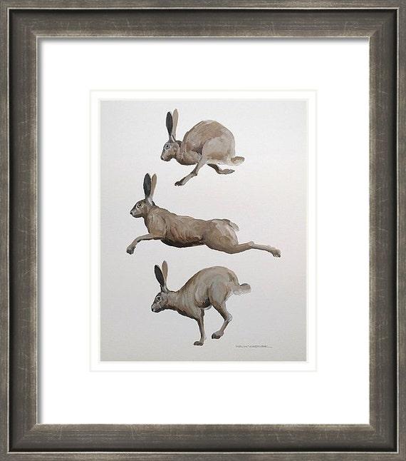 "JACK RABBITS - Original 11"" x 14"" Oil Painting of Three Jack Rabbits"