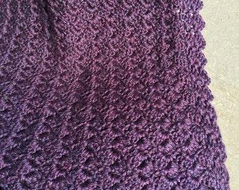 Deep Violet Crocheted Baby Blanket