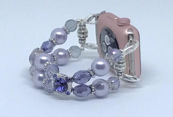 """Apple Watch Band, Women Bead Bracelet Watch Band, iWatch Strap, Apple Watch 38mm, Apple Watch 42mm, Light Lilac, Size Purple 6 1/2"""" - 6 3/4"""""""