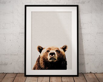 Woodland Print Bear, Woodland Bear Print, Nursery Bear Art, Kids Bear Art Print, Forest Animals Bear, Bear Print Woodland, Nursery Print
