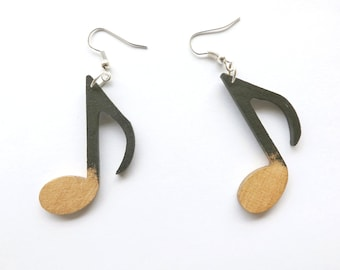Wooden earrings Notes black + gold, hand-painted laser cut jewelry personalized gift for her for music lover funky wood chandelier earrings