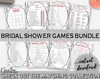 Games Bundle in Paris Bridal Shower Pink And Gray Theme, games deal, bridal shower paris, printables, pdf jpg, prints, digital print - NJAL9
