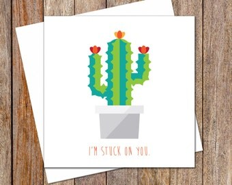 Anniversary Card. Love Card. Valentine's Day Greeting Card. Cactus. Funny Valentines Card. Thinking of You Card. Gift Card. Greeting Card.