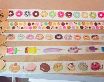 Donut, Macaron, Dessert Washi --multiple designs-- ONE ROLL