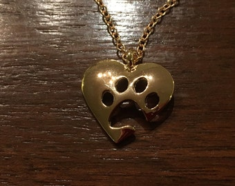 Pet lovers, cut-out PAW/ HEART Necklace