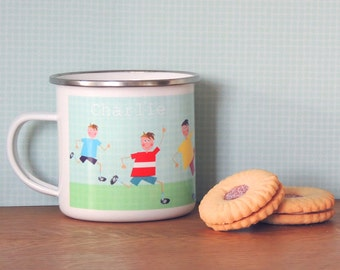 Personalised Footballer Enamel Mug