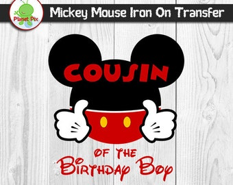 Cousin Of The Birthday Boy Mickey Mouse Iron On Transfer, Birthday Boy Printable Iron On T-Shirt Clipart, DIY Mickey Family Birthday Shirts