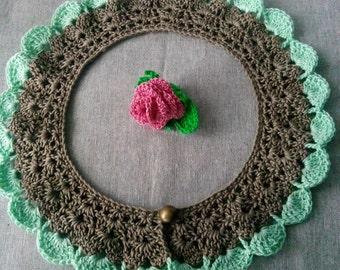 Mint Green Collar, Peter Pan Collar, Gray Collar, Lace Collar, Crochet Collar, Crochet Handmade Collar,Collar For Office, Wintage Collar,