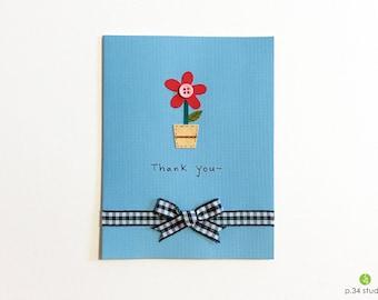Thank You, handmade card, thank you card, flower pot