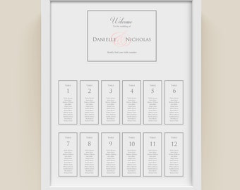 Wedding Seating Plan |  Classic Border |  For Word | Seating Chart |  DIY Printable