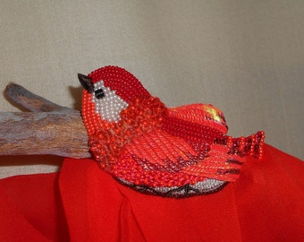 Red Beaded Bird Brooch ,Handmade, Bead jewelry, Coral color, Beaded Brooch - Example Product Only