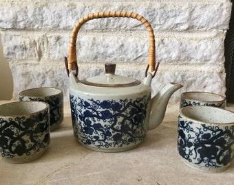 vintage takahashi tea set - japanese - ceramic - teapot - tea cups - asian decor