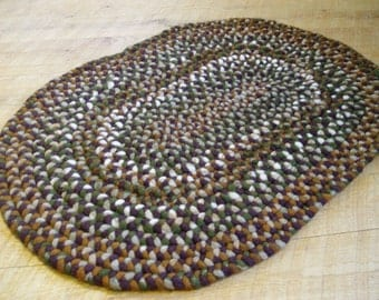 38 inch Braided Felted Wool Purple Green Tan Gray Brown Rug