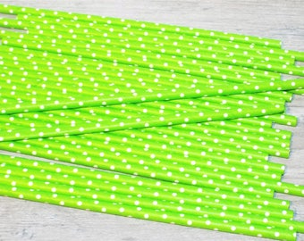 25 Apple Green Polka Dot Drinking Paper Straws. Party and favor straws.
