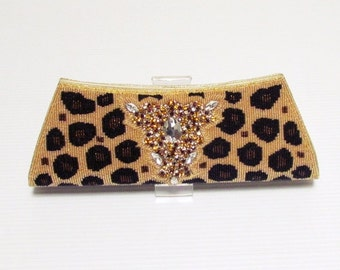 Leopardbeescratchbag Swaraj Bag Leopard print beaded embroidery 2-way event dress