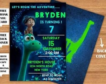 The Good Dinosaur Invitation Good Dinosaur Kids Birthday Party Printable Invitation+Back Cover Dinosaur Printed Invite+FREE Thank You Card