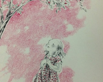 Vintage black pink art print girl in woods childrens book page illustration shabby chic kids room nursery wall decor artwork paper ephemera