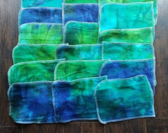 Set of 18 blue green tiedye flannel cloth reuseable baby wipes