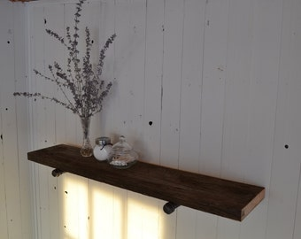 Rustic wood and pipe shelf, reclaimed wood, industrial pipe