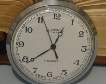 Vintage pocket watch USSR. Wostok soviet pocket watch, small vintage pocket watch ussr
